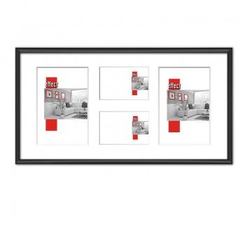 Galerierahmen S1 25x50 (Aussschnitt 2x 9x13+13x18)   schwarz matt   Normalglas