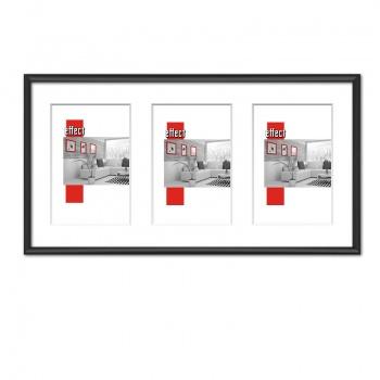 Galerierahmen S1 25x50 (Aussschnitt 3x 10x15 cm) | schwarz matt | Normalglas