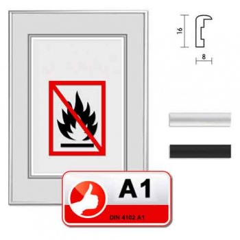 A1 Brandschutzrahmen Profil S1 13x18 | silber matt | Normalglas