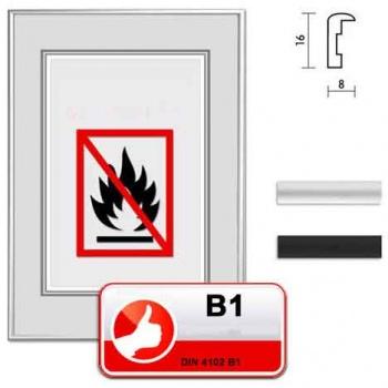 Zertifizierter Standard B1 Brandschutzrahmen S1 21x29,7 (A4) | silber matt | Normalglas