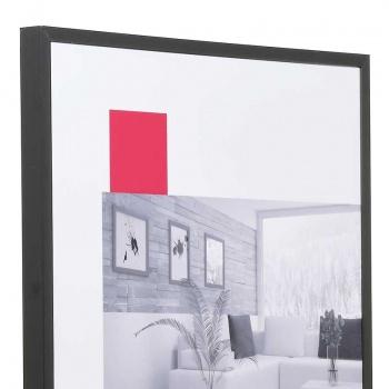 Aluminium-Bilderrahmen Econ eckig 80x100 cm | schwarz matt | Kunstglas entspiegelt
