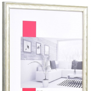 Holz-Bilderrahmen Saint-Malo 50x70 cm | silber | Normalglas