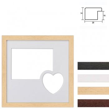 2er Galerierahmen aus Holz in 30x30 cm mit Herz