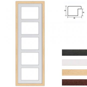 5er Galerierahmen aus Holz in 25x80 cm