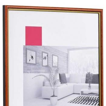 Holz-Bilderrahmen Antony Maßanfertigung rot-gold   Antireflexglas