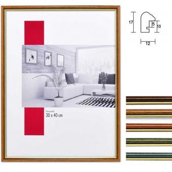 Holzbilderrahmen Profil 23 9x13 | nussbraun-gold | Normalglas