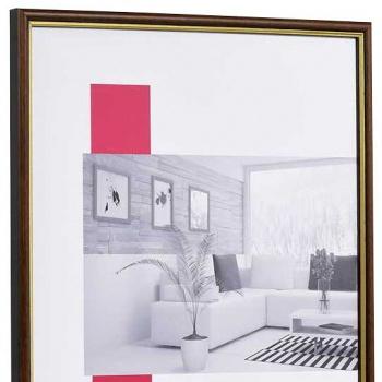 Holz-Bilderrahmen Antony 9x13 cm | nussbraun-gold | Normalglas