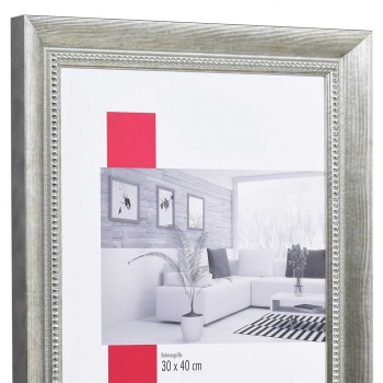 Barock-Bilderrahmen Carcassonne 9x13 cm | Silber | Normalglas