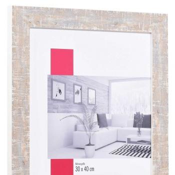 Holz-Bilderrahmen Troyes Sonderzuschnitt weiß   mit Rückwand, ohne Glas