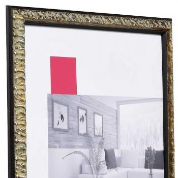 Barock-Bilderrahmen Rémelfing 9x13 cm   schwarz-silber   Normalglas