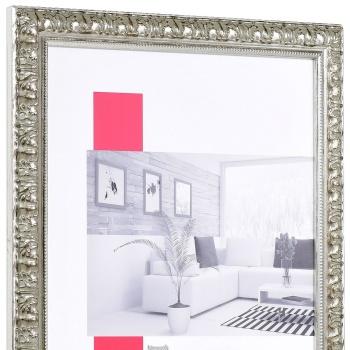 Barock-Bilderrahmen Cassis 21x29,7 cm (A4) | silber | Antireflexglas