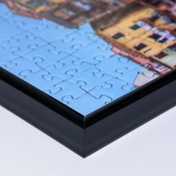Kunststoff-Puzzlerahmen - Sonderformat bis max. 100x100 cm schwarz | Kunstglas