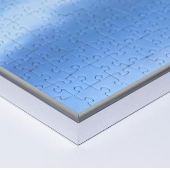 Kunststoff-Puzzlerahmen - Sonderformat bis max. 100x100 cm silber | Kunstglas entspiegelt