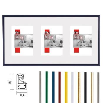 Galerierahmen Art 23x70 (Ausschnitt 3x 13x18) | silber | Normalglas