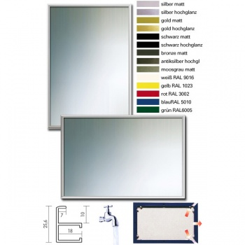 Badezimmer-Spiegel-Bilderrahmen Quadro aus Aluminium