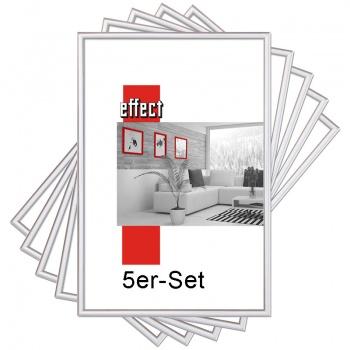 Sonderangebot: 5 St.Kunststoff-Wechselrahmen 50x70 | silber | Normalglas