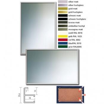 Alu-Spiegel-Bilderrahmenrahmen Quadro 62x93 cm | silber matt | Spiegel