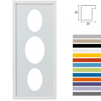 3er Galerierahmen Top Cube in 25x60 cm Ovalausschnitt